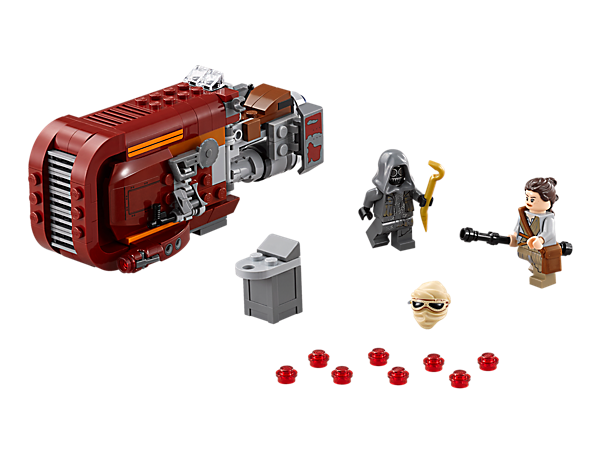 Collect Rey's Speeder with dual stud shooters, opening storage hatch and side-mounted bag, blaster, buzzsaw, electrobinoculars and more.