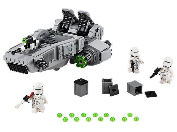Drive back the enemy with the First Order Snowspeeder featuring three-man crew, storage, stud shooter, rapid-fire shooters, hidden wheels and more.