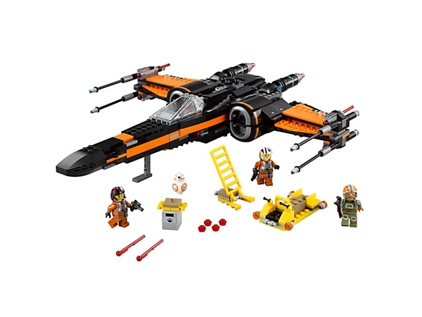 Board Poe's X-Wing Fighter with spring-loaded shooters, stud shooters, retractable landing gear, opening wings, loader, access ladder and more.