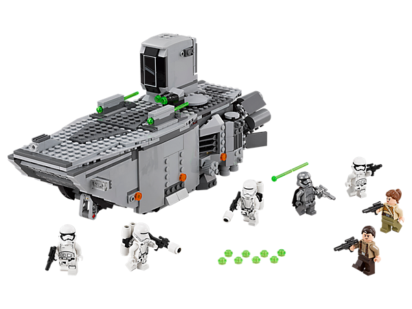 Battle with the First Order Transporter with spring-loaded shooters, stud shooter, opening ramp, 7 minifigures, removable top and more.