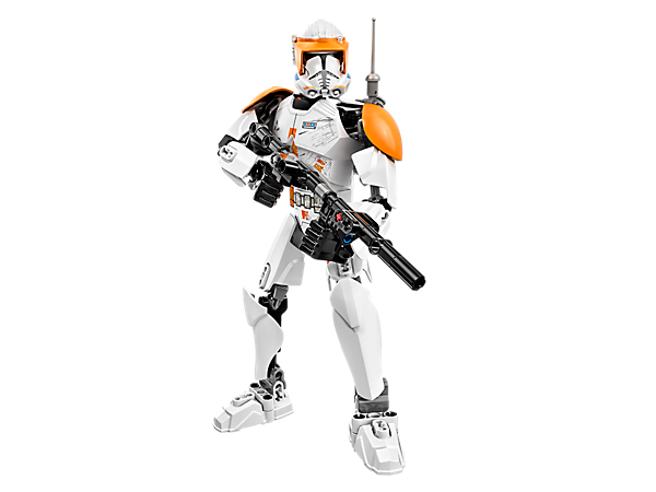 <p>Command the Clone Army with Commander Cody™ featuring posable limbs, custom orange clone armour, and buildable blaster rifle and backpack.</p>