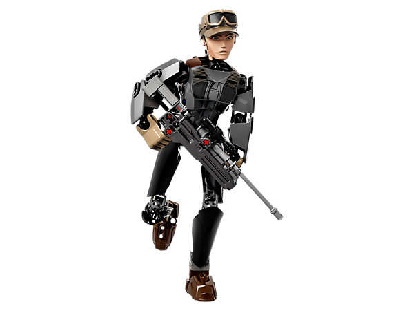 Enter the battle with buildable and highly posable Jyn Erso with firing blaster rifle, arm-swinging battle function and detachable truncheons.