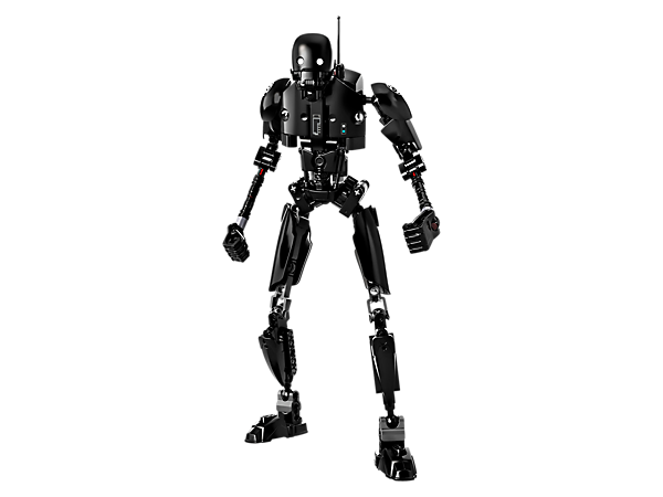 Break through enemy lines with this buildable and highly posable K-2SO droid, with single/double-arm-swinging battle function, decorated armor elements, and tall frame.
