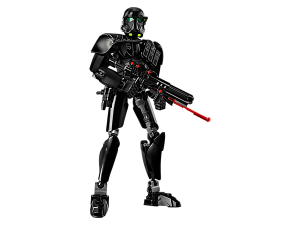 Guard the Empire with this buildable and highly posable Death Trooper, featuring spring-loaded shooter blaster rifle, blaster pistol with holster and decorated armor.
