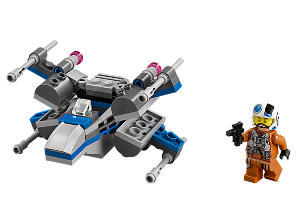 Launch into mini battle with the Resistance X-Wing Fighter microfighter with foldable wings, big engines and space to seat the Resistance X-Wing Pilot minifigure.