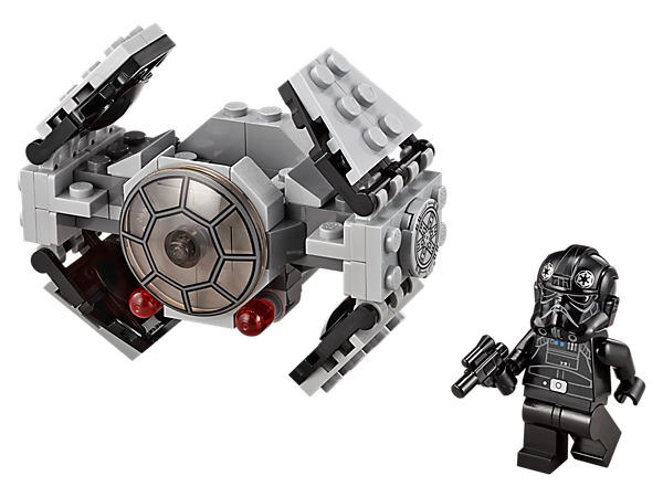 Hunt for rebel starships with this TIE Advanced Prototype microfighter with movable wings, dual flick missiles and space for the TIE Pilot minifigure with blaster pistol.