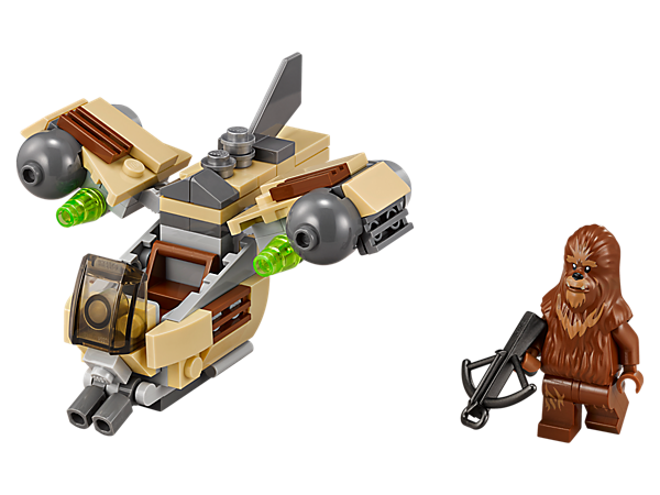 Repel the enemy with this Wookiee Gunship microfighter with movable wings, flick missiles with extra ammo and space for the included Wookiee minifigure with bowcaster.