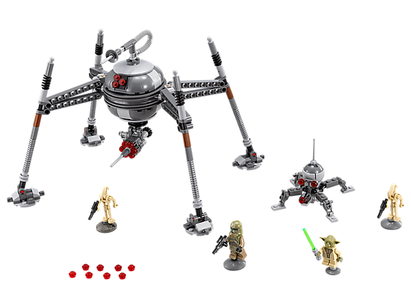 Stride into battle with the huge Homing Spider Droid with 4 articulating legs, rapid stud shooter, sensors, anti-personnel cannon, 2 Battle Droids and 2 minifigures.