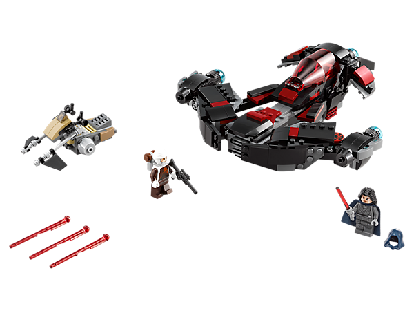 Discover Naare's transforming Eclipse Fighter with opening minifigure cockpit and hidden spring-loaded missiles, plus a speeder and 2 minifigures.