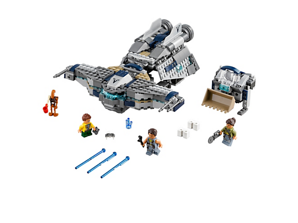 <p>Search for scrap aboard StarScavenger with its modular design, foldout top section, mini scavenger vessel with salvage scoop, 3 minifigures and a friendly Droid.</p>