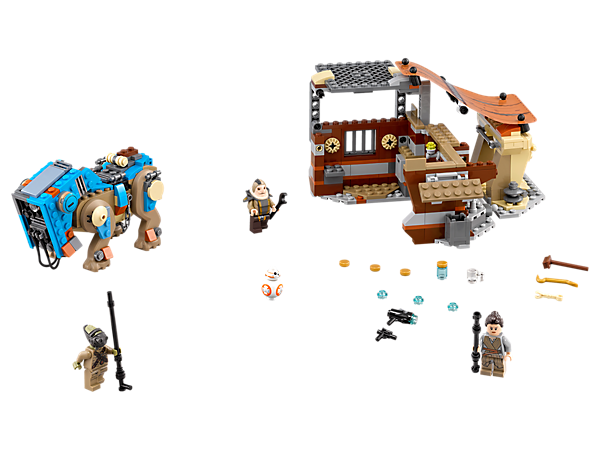 Help Rey battle Teedo at Unkar Plutt's market stall featuring a foldout market stall with accessory elements, 3 minifigures, BB-8 Droid and an armored Luggabeast.