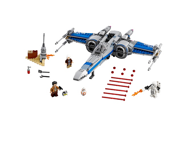Protect Lor San Tekka's desert home with Poe's Resistance X-Wing Fighter with opening wings, detachable hyperdrive, plus 3 minifigures and a BB-8 Droid.