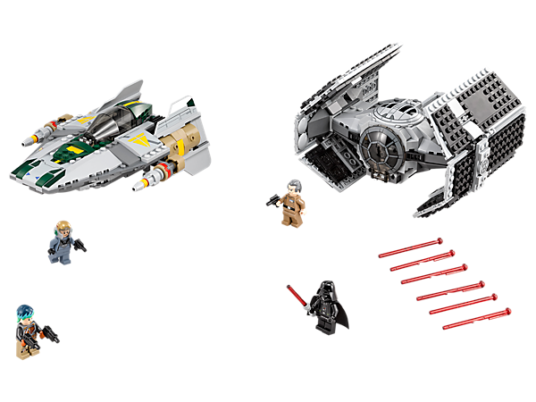 Pit Darth Vader's iconic TIE Advanced against the rebels' A-Wing Starfighter in an epic duel among the stars. Includes 4 minifigures.