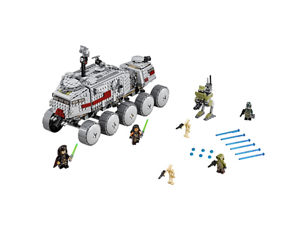 <p>Call in the tough 10-wheel Clone Turbo Tank with flexible suspension, spring-loaded shooters, observation post, detailed interior, 4 minifigures and 2 Battle Droids.</p>