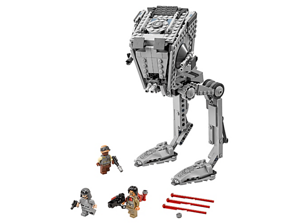Stride into action with the AT-ST Walker, featuring posable legs, turning top section, detailed interior, dual spring-loaded shooters and elevating guns, plus 3 minifigures.