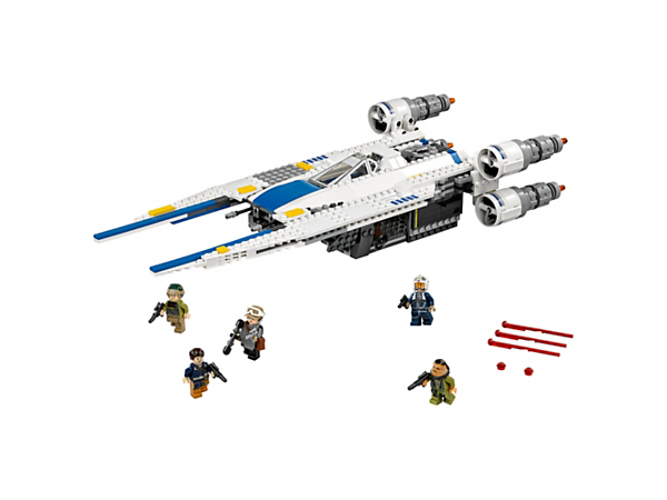 Join the battle against the Empire with this U-Wing Fighter featuring sweep-back wings, opening cockpit with observation window, spring-loaded & stud shooters, and 5 minifigures.