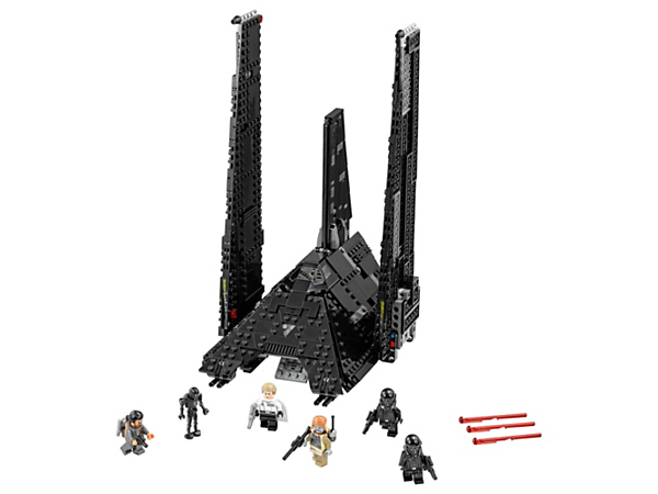 Fly Krennic's pitch-black Imperial Shuttle with huge folding wings, opening armor panels, space for 5 minifigures, ramp, spring-loaded shooters, 5 minifigures and a Droid.