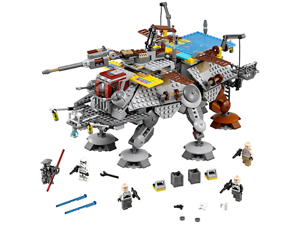 Keep Imperial Inquisitor Fifth Brother from boarding Captain Rex's AT-TE with movable legs, cranes, ladders, spring-loaded shooter and opening panels, plus 5 minifigures.