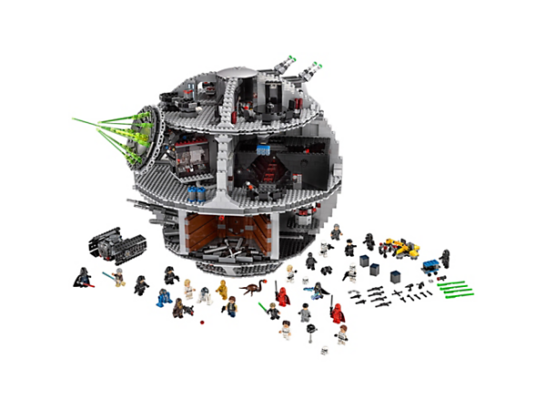 Rule the galaxy from the Imperial Death Star with superlaser, conference chamber, hangar with TIE Advanced, throne room, detention block, 23 minifigures and 2 Droids.