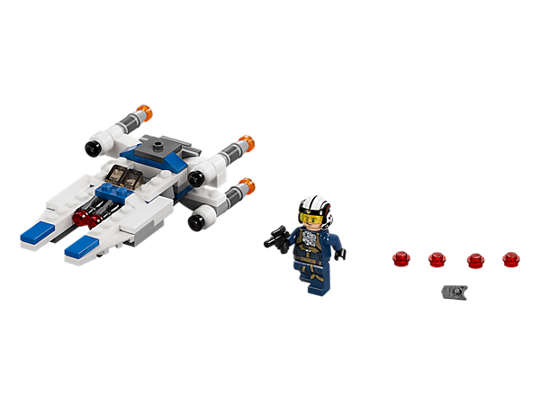 Zoom into battle against the Empire with this U-Wing Microfighter with folding wings, dual stud shooters and space to seat the included U-Wing Pilot with his weapon.