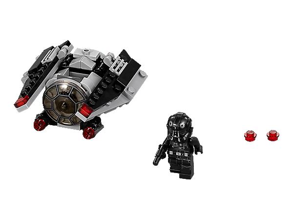 In diesem TIE Striker Microfighter kannst du es mit den Rebellen aufnehmen. Er verfügt über Klappflügel, zwei Shooter und genug Platz, um den TIE-Piloten mit seiner Blaster-Pistole hineinzusetzen.