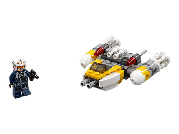 Fly into battle with this Y-Wing Microfighter with dual flick missiles, big engines, white, gray and yellow color scheme, and space to seat the included Y-Wing Pilot with his blaster pistol.