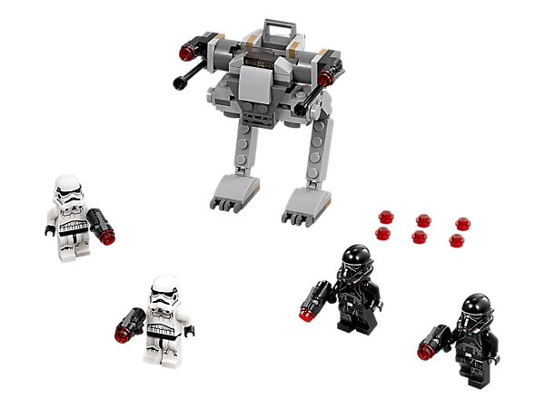 Reinforce the Empire with this Imperial Trooper Battle Pack featuring an Imperial walker with posable legs, seat for a minifigure, elevating stud shooters, plus four minifigures.