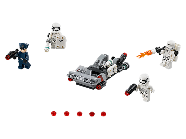 <p>Join the battle with the First Order Transport Speeder, with space for 2 minifigures, stud shooters, and detachable stud blasters, shields and batons, plus 4 minifigures.</p>