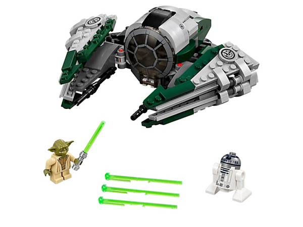 Travel the galaxy with Yoda's Jedi Starfighter, featuring folding wings, opening minifigure cockpit and two spring-loaded shooters and laser cannons, plus Yoda and R2-D2.