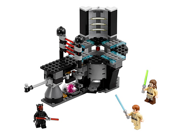 Help Qui-Gon and Obi-Wan defeat Darth Maul at the Naboo power generator, featuring opening laser doors, catapult function, opening purification chamber and three minifigures.
