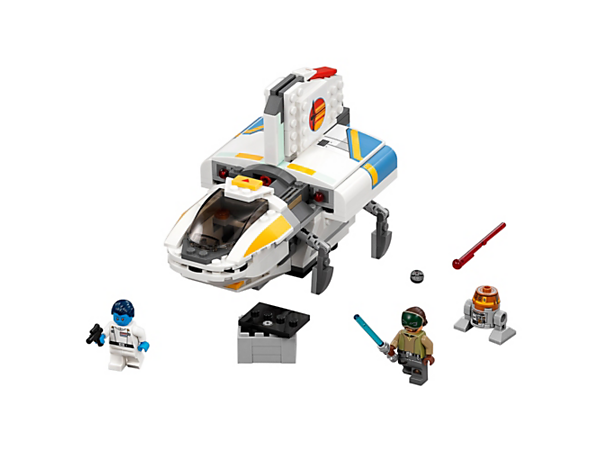 <p>Aim for the stars with The Phantom, featuring opening, detachable cockpit, retracting landing gear, spring-loaded shooters, opening rear compartment, two minifigures and a droid.</p>