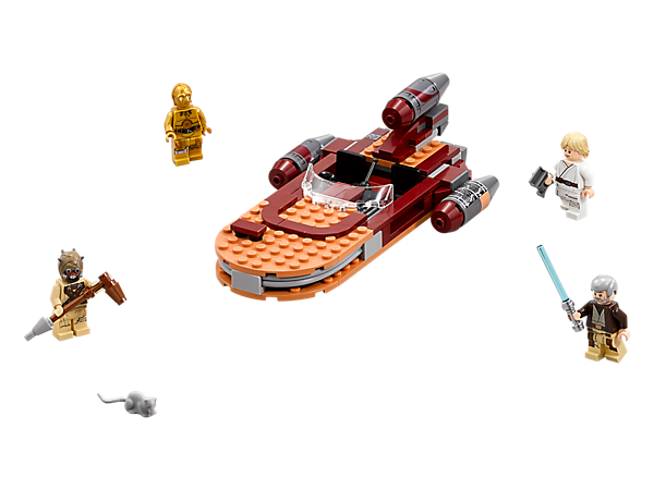 Speed across Tatooine in search of Ben Kenobi with Luke's Landspeeder, featuring an open cockpit, three engines and an opening trunk, plus four minifigures and a womp rat figure.