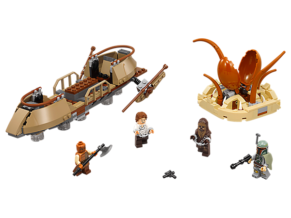 Recreate iconic battles aboard Jabba's skiff with plank and storage hold, and deadly Sarlacc pit with opening mouth and space for a minifigure. Includes four minifigures.