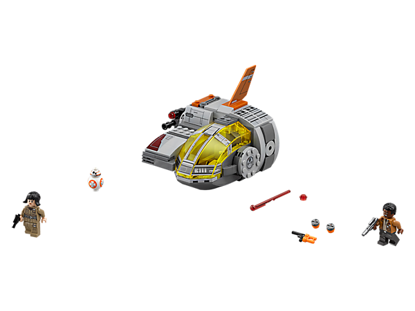 Flee from the First Order in the Resistance Transport Pod featuring a 2-minifigure cockpit, storage compartment, aimable stud shooter, spring-loaded shooters, 2 minifigures and BB-8 figure.