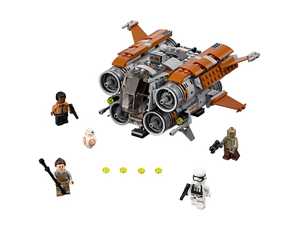 Escape Unkar's Thug with the Jakku Quadjumper, featuring an opening cockpit, rear gunner station, stud shooters and explode function, plus 4 minifigures and BB-8 figure.