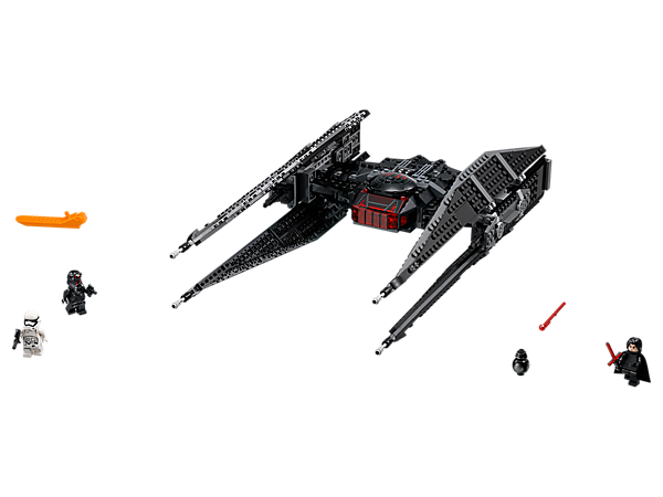 Intercept the Resistance fleet with Kylo Ren's TIE Fighter, featuring an opening minifigure cockpit, large wings and spring-loaded shooters, plus 3 minifigures and a BB-9E figure.