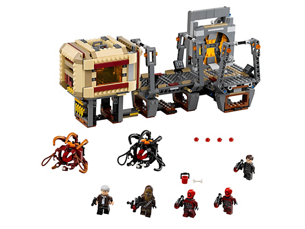 Escape the jaws of the Rathtars with this modular freighter interior with lowering blast door, trapdoor with crawlspace, Rathtar release function and 5 minifigures.