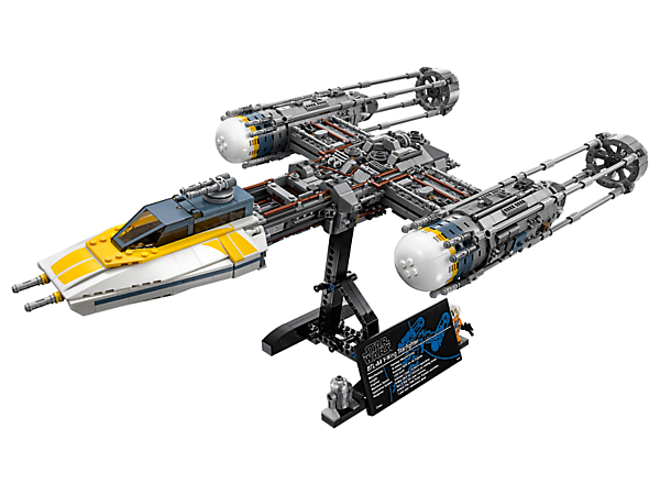 Pilot your own Ultimate Collector Series LEGO® Star Wars Y-Wing Starfighter, featuring opening cockpit, wheel-activated rotating ion cannons, retractable skids, plus a minifigure and droid.