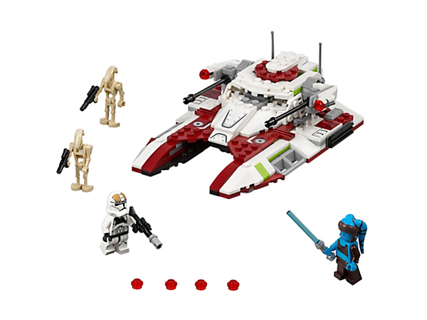 Destroy the droids with the Republic Fighter Tank, featuring a minifigure cockpit, elevating guns with stud shooters, ammo store, hover-look wheels, plus 2 minifigures and 2 figures.