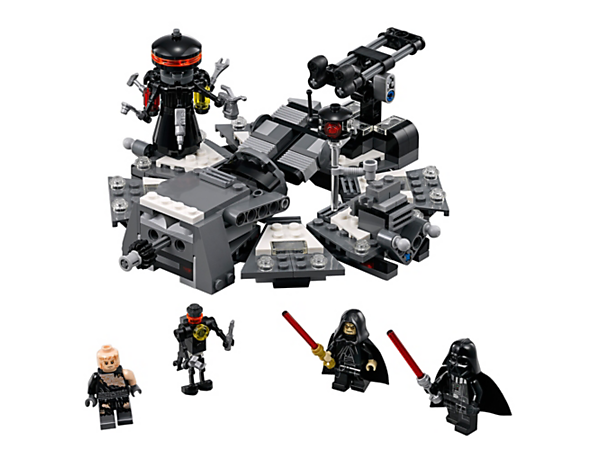 Transform Anakin into Vader with this medical bay set, featuring a turning table, helmet applicator, Force explode function, 3 minifigures and 2 buildable droids figures.