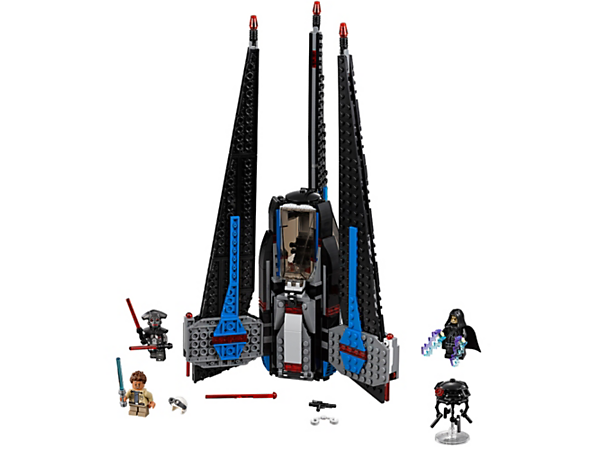 Go hunting with Tracker I, featuring spring-loaded shooters, weapon store, access ladder, opening prison cell and opening cockpit, plus 3 minifigures and buildable probe droid figure.