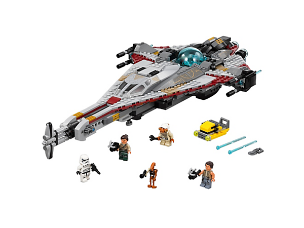 Enter battle with The Arrowhead featuring an opening cockpit, crystal power source element, spring-loaded shooters and battering ram, plus service cart, 4 minifigures and R0-GR figure.