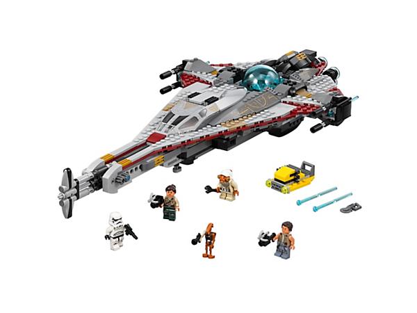 The Arrowhead entre dans le combat ! Il comprend un cockpit qui s'ouvre, un élément de source de pouvoir, des fusils à ressort et un bélier, plus un chariot de service, quatre figurines et une figurine de RO-GR.