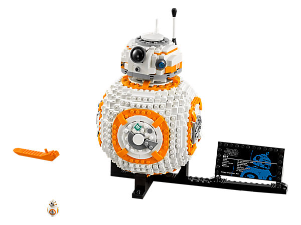 Build a cute LEGO® brick version of BB-8, featuring a wheel-activated rotating head and opening hatch with non-functioning welding torch, plus a display stand, fact plaque and small BB-8 figure.