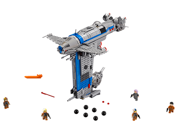 Bring extra firepower to the battle with the Resistance Bomber, featuring bomb release function, spring-loaded shooters, opening gun turrets and cockpit, and 5 minifigures.