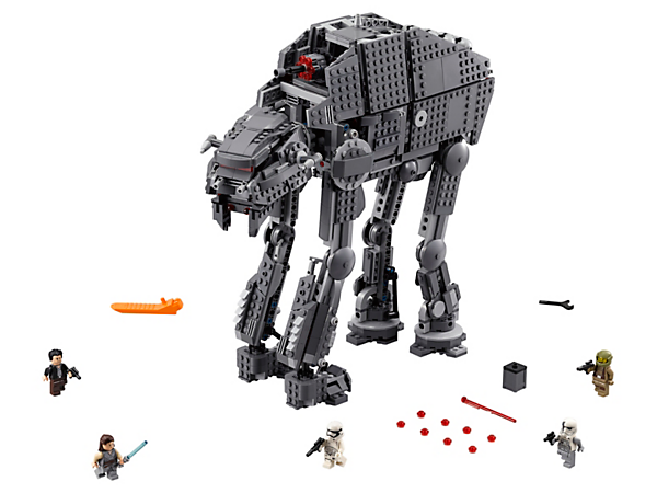 Step into action with the First Order Heavy Assault Walker, featuring posable legs, spring-loaded shooters, rapid-fire stud shooter, detachable canisters and ammo, and 5 minifigures.
