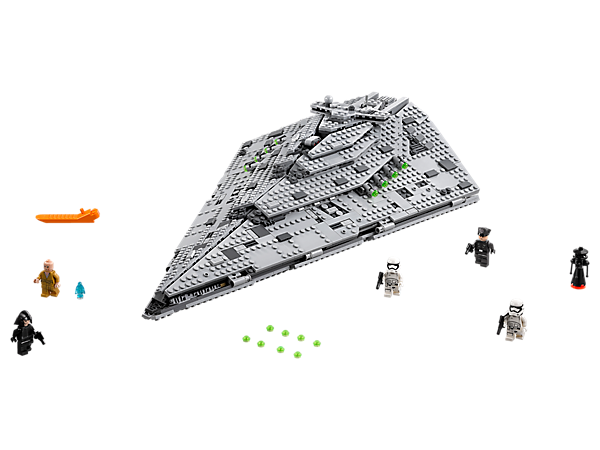 Command the fleet with the First Order Star Destroyer featuring armor detailing, 8 stud shooters and open-out panels revealing a detailed interior, plus 5 minifigures and 2 droids.