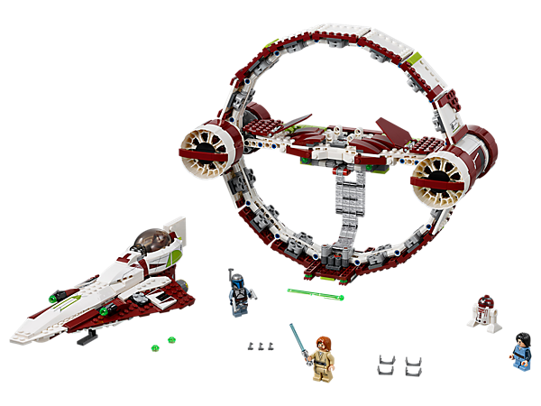 Warp into action with Obi-Wan's Jedi Starfighter With Hyperdrive, featuring stud blasters, spring-loaded shooters, quick-release grab handle, 3 minifigures and a droid figure.