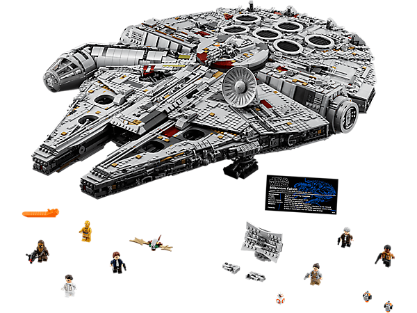 Build, play and display the ultimate LEGO® Star Wars Millennium Falcon with amazing external detailing, large cockpit, detailed interior, 7,500 elements and 2 crews!