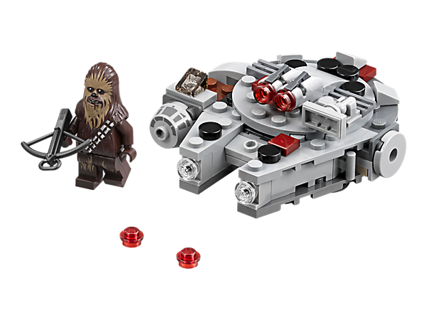 Take on the First Order with this Millennium Falcon Microfighter featuring intricate detailing, 2 stud shooters and space to seat the included Chewbacca minifigure and bowcaster.